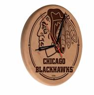Chicago Blackhawks Laser Engraved Wood Clock