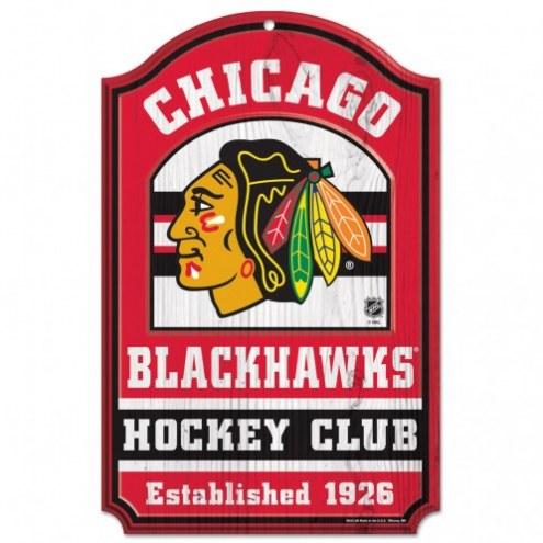 Chicago Blackhawks Hockey Club Wood Sign