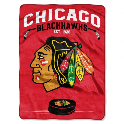 Chicago Blackhawks Inspired Plush Raschel Blanket
