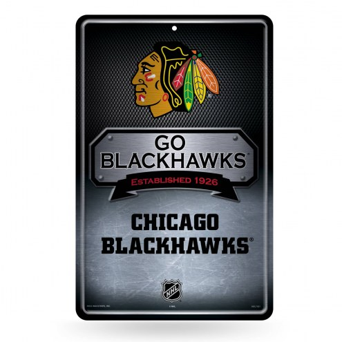 Chicago Blackhawks Large Embossed Metal Wall Sign