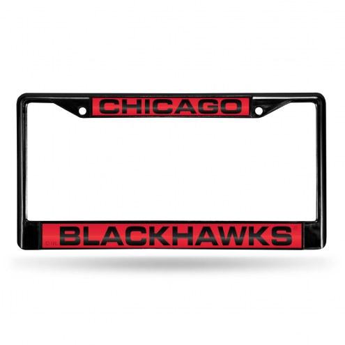 Chicago Blackhawks Laser Black License Plate Frame