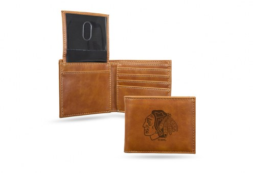 Chicago Blackhawks Laser Engraved Brown Billfold Wallet