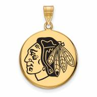 Chicago Blackhawks Sterling Silver Gold Plated Large Pendant