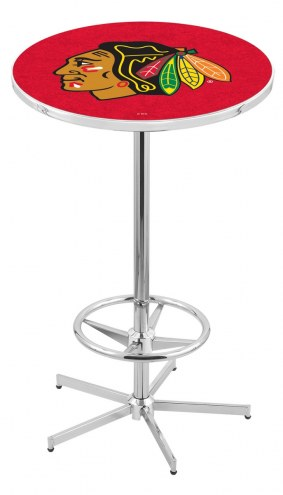 Chicago Blackhawks NHL Chrome Bar Table with Foot Ring