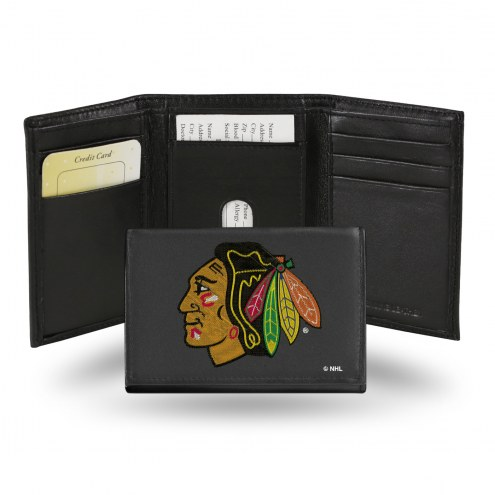 Chicago Blackhawks NHL Embroidered Leather Tri-Fold Wallet