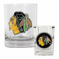 Chicago Blackhawks NHL Rocks Glass and Square Shot Glass - 2 Piece Set