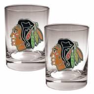 Chicago Blackhawks NHL Rocks Glass - Set of 2