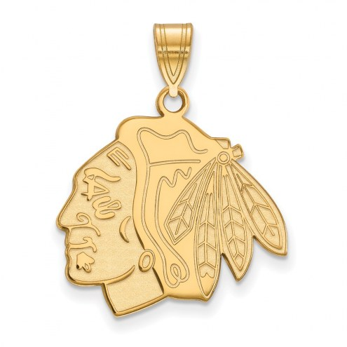 Chicago Blackhawks NHL Sterling Silver Gold Plated Large Pendant