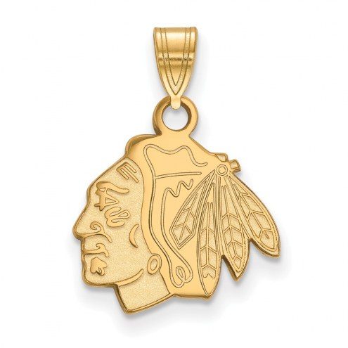 Chicago Blackhawks NHL Sterling Silver Gold Plated Small Pendant