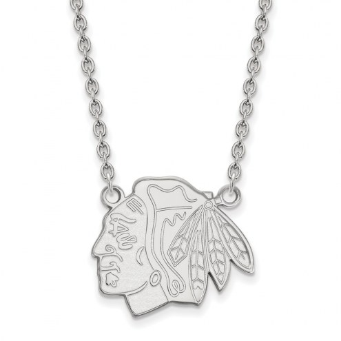 Chicago Blackhawks Sterling Silver Large Pendant Necklace