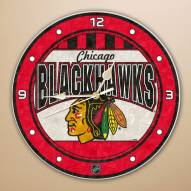 Chicago Blackhawks Stained Glass Wall Clock
