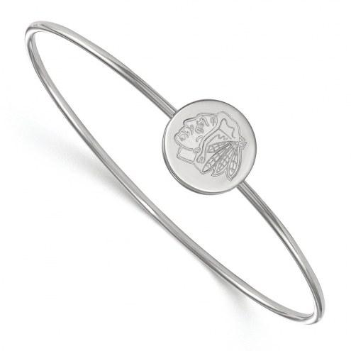 Chicago Blackhawks Sterling Silver Bangle Slip on Bracelet