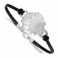Chicago Blackhawks Sterling Silver Black Leather Bracelet
