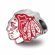 Chicago Blackhawks Sterling Silver Enameled Bead