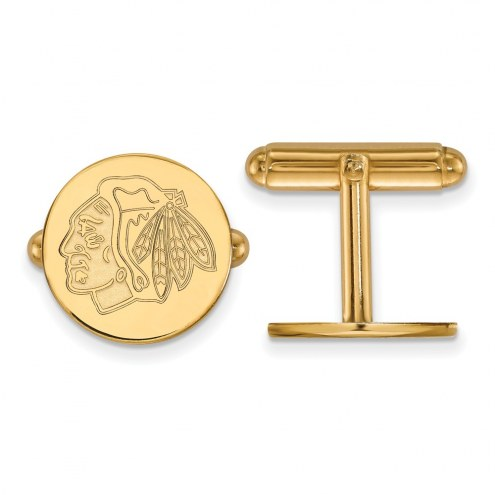 Chicago Blackhawks Sterling Silver Gold Plated Cuff Links