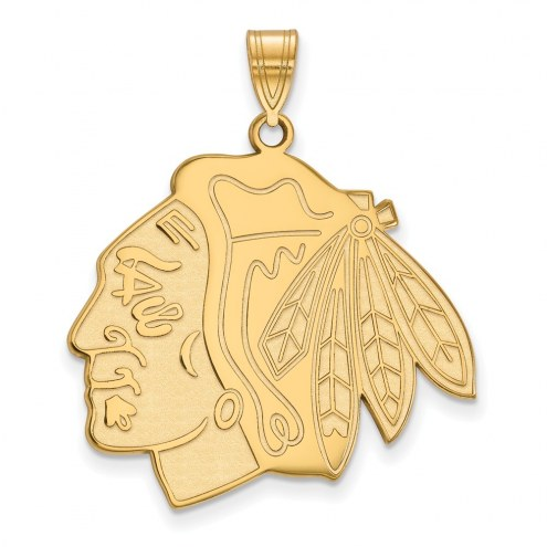 Chicago Blackhawks Sterling Silver Gold Plated Extra Large Pendant