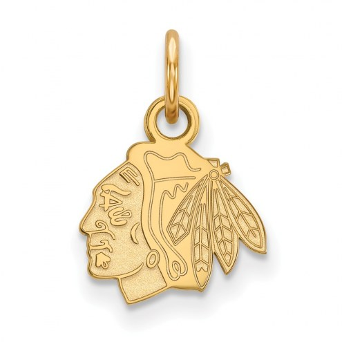Chicago Blackhawks Sterling Silver Gold Plated Extra Small Pendant
