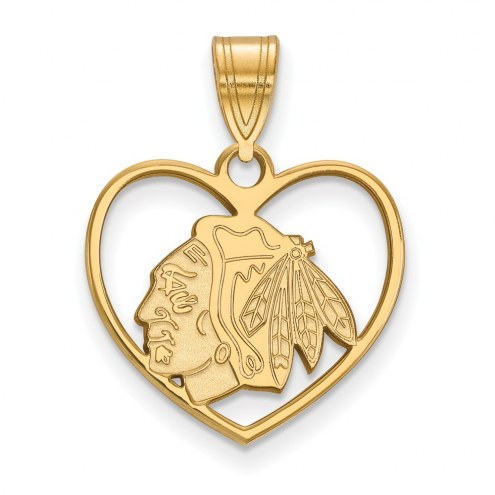 Chicago Blackhawks Sterling Silver Gold Plated Heart Pendant