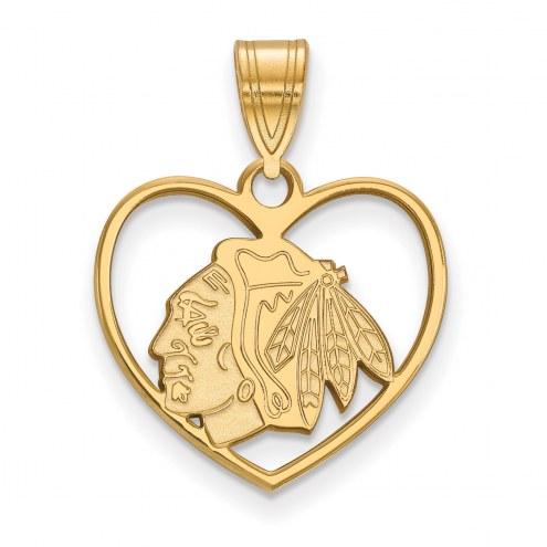 Chicago Blackhawks Sterling Silver Gold Plated Heart Pendant