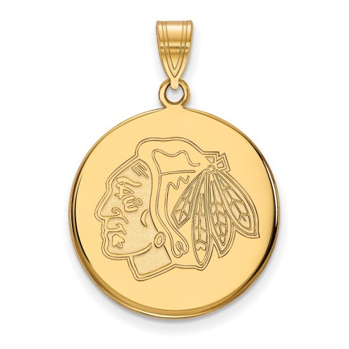Chicago Blackhawks Sterling Silver Gold Plated Large Disc Pendant