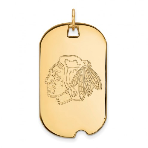 Chicago Blackhawks Sterling Silver Gold Plated Large Dog Tag