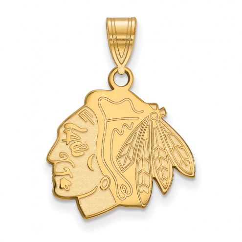 Chicago Blackhawks Sterling Silver Gold Plated Medium Pendant