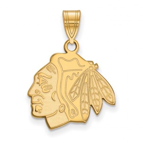 Chicago Blackhawks Sterling Silver Gold Plated Medium Pendant