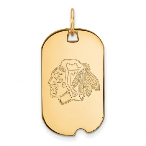 Chicago Blackhawks Sterling Silver Gold Plated Small Dog Tag