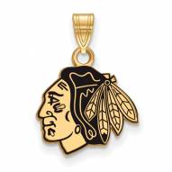 Chicago Blackhawks Sterling Silver Gold Plated Small Enameled Pendant