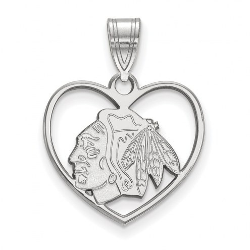 Chicago Blackhawks Sterling Silver Heart Pendant