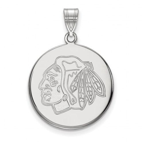 Chicago Blackhawks Sterling Silver Large Disc Pendant