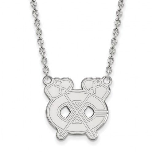 Chicago Blackhawks Sterling Silver Large Pendant Necklace