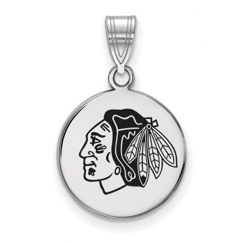 Chicago Blackhawks Sterling Silver Medium Enameled Disc Pendant