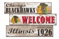 Chicago Blackhawks Welcome 3 Plank Sign