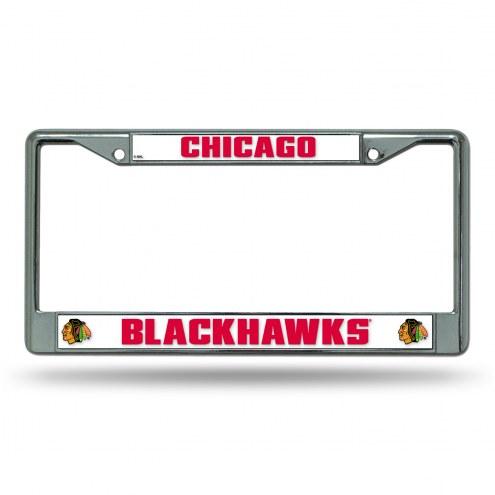 Chicago Blackhawks White Chrome License Plate Frame