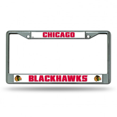 Chicago Blackhawks White Chrome License Plate Frame