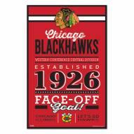 Chicago Blackhawks Established Wood Sign
