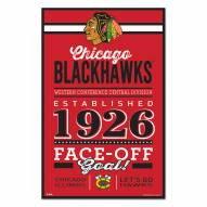 Chicago Blackhawks Established Wood Sign