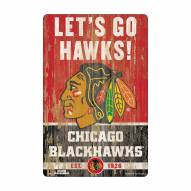 Chicago Blackhawks Slogan Wood Sign