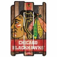 Chicago Blackhawks Wood Fence Sign