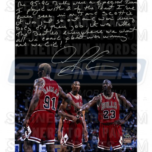 """Chicago Bulls Dennis Rodman Story Photo about 95-96 Team Signed 16"""" x 20"""" Photo"""