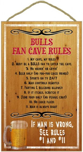 Chicago Bulls Fan Cave Rules Wood Sign