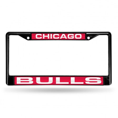 Chicago Bulls Laser Black License Plate Frame