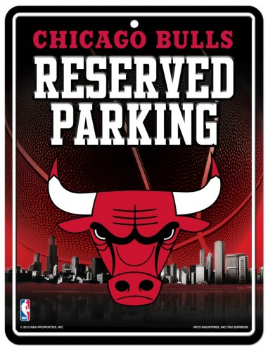 Chicago Bulls Metal Parking Sign