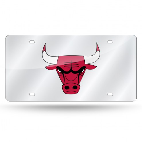 Chicago Bulls Silver Laser License Plate