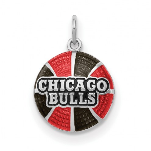 Chicago Bulls Sterling Silver Enameled Basketball Pendant