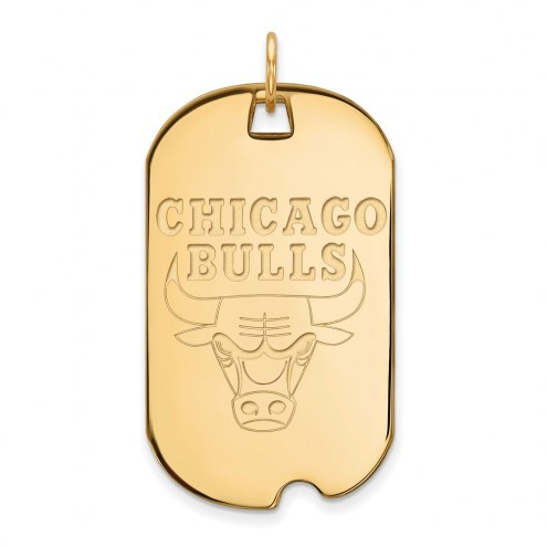 Chicago Bulls Sterling Silver Gold Plated Large Dog Tag
