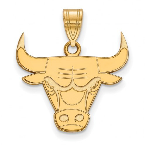 Chicago Bulls Sterling Silver Gold Plated Large Pendant