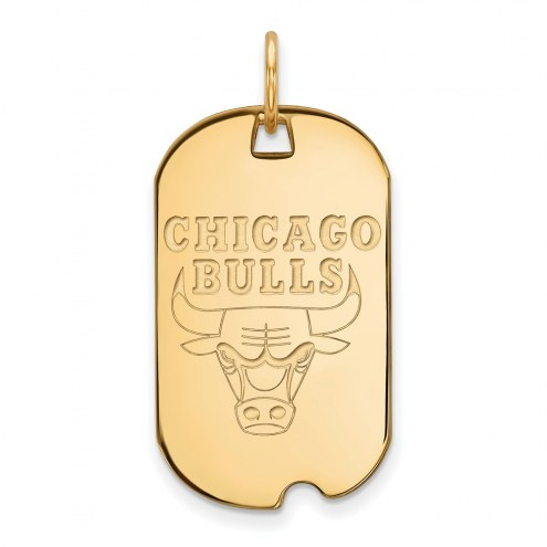 Chicago Bulls Sterling Silver Gold Plated Small Dog Tag