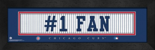 """Chicago Cubs """"#1 Fan"""" Stitched Jersey Framed Print"""